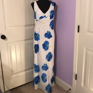 NWOT! White with Blue Floral Maxi Dress